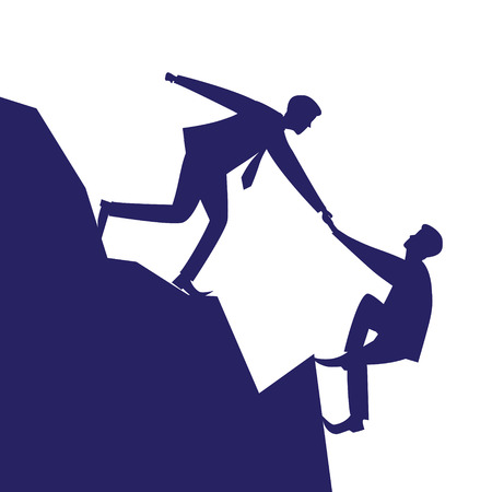 Vector silhouette illustration. Business teamwork concept. Businessmen working together, helping each other to climb mountain cliff of success. Team of people work hard to reach top position