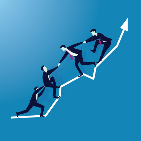 Vector illustration. Business teamwork concept. Businessmen working together, helping each other to climb arrow of success. Team of people work hard to reach top position Иллюстрация
