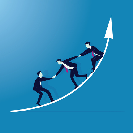 Vector illustration. Business teamwork concept. Businessmen working together, helping each other to climb arrow of success. Team of people work hard to reach top position Stock Vector - 83418563