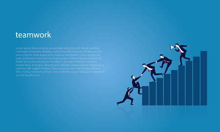 Vector illustration. Business teamwork leadership concept. Businessmen working together, helping each other to climb ladder of success. Leader motivating his team to work hard for top position