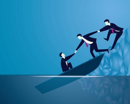 Vektor-Illustration. Geschäftsausfallrettungswiederaufnahme-Teamwork-Konzept. Geschäftsleute arbeiten zusammen und helfen sich gegenseitig, sich vor sinkendem Boot zu retten Vektorgrafik