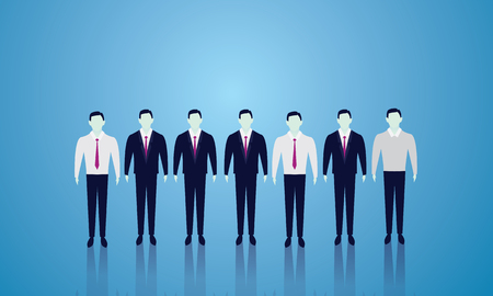 Vector illustration. Business team teamwork concept. Lined people. Team of creative businessmen ready to work.