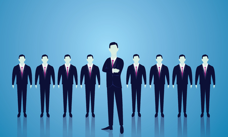 Vector illustration. Business team leader leadership teamwork concept. A leader stand out in the front of lined people. Team of businessmen ready to work. Vectores