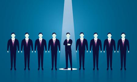 Vector illustration. Business recruitment hiring concept. Selecting businessman, promotion, career, chosen. Focus on one man with spotlight Illustration