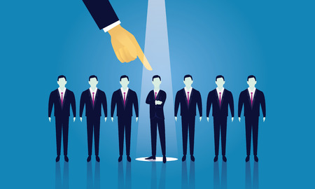 Vector illustration. Business recruitment hiring concept. Selecting businessman from line of people with pointing finger. Focus on one man with spotlight