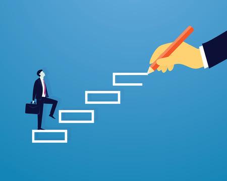 Échelle de réussite d'escalier homme d'affaires
