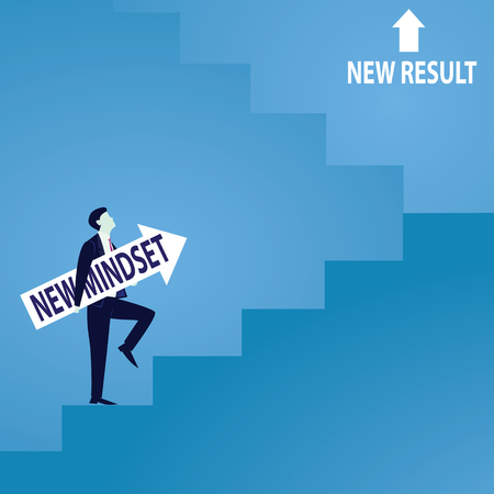 Businessman climb success ladder
