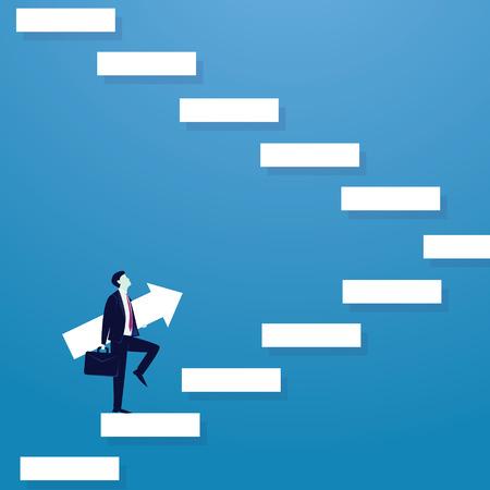 Businessman climb success ladder