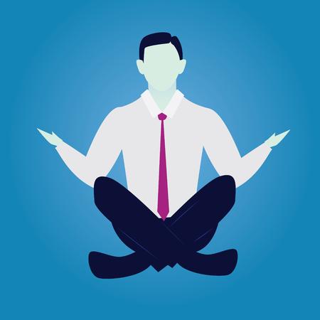 Homme d'affaires en position de yoga. Calme Détendez-vous dans les affaires Banque d'images - 83974489