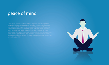 Businessman in Yoga Position. Calm Relax In Business