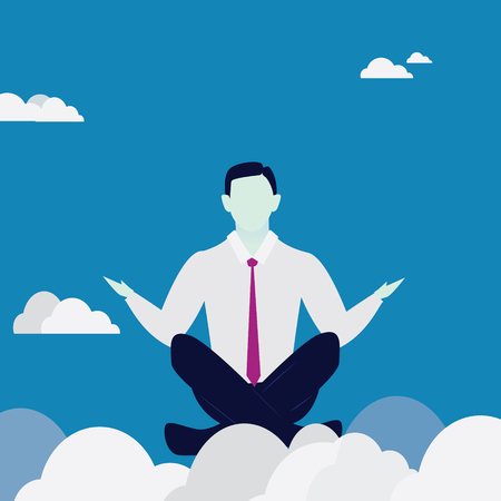 positive energy: Businessman in Yoga Position. Calm Relax In Business