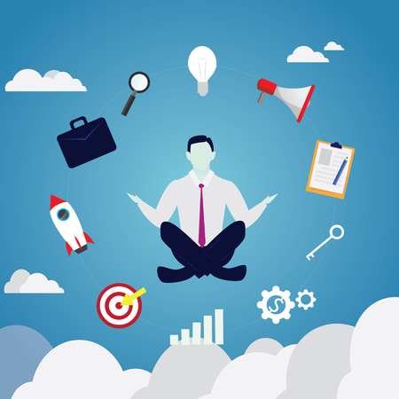 Employee meditation in yoga position.