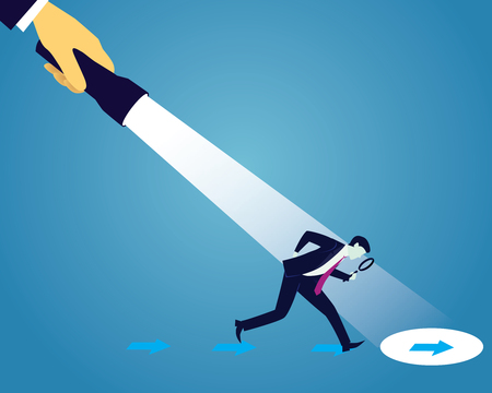 solved: Vector illustration. Business analytics concept. Businessman looking trough magnifying glass to investigate direction clue to be successful in finance, career and self development