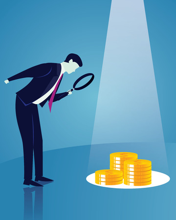 Vector illustration. Business analytics concept. Businessman looking trough magnifying glass to investigate direction clue to be successful in finance, career and self development