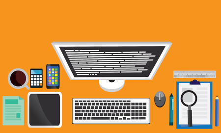 table top: Set of flat vector design illustration of modern business office and workspace. Top view of desk background with laptop, digital devices and notepad