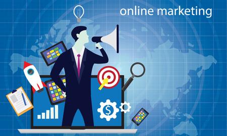Vector illustration. Business concept. Internet web online digital marketing selling content product global worldwide trough website