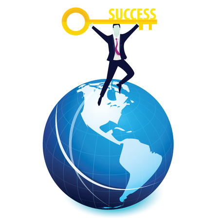lock symbol: Vector illustration. Business success concept. Businessman holding key of success to open door of big opportunity winning glory in future