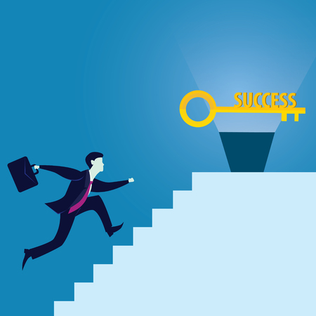 partnership security: Vector illustration. Business success concept. Businessman holding key of success to open door of big opportunity winning glory in future