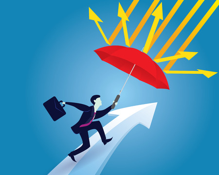 Vector illustration. Insurance protection concept. Businessman and umbrella, risk threat preparation protecting weath future life
