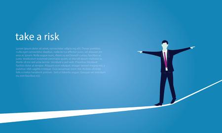 tightrope walker: Risk challenge in business concept.