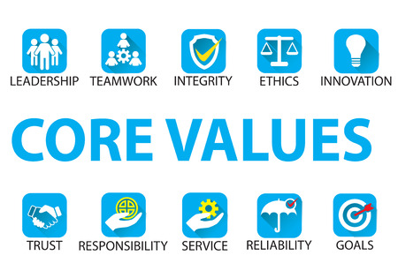 Business core values concept illustration. Çizim