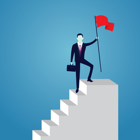 Business concept, businessman conquer obstacle, winning gesture holding victory flag on top of stairs. Illustration