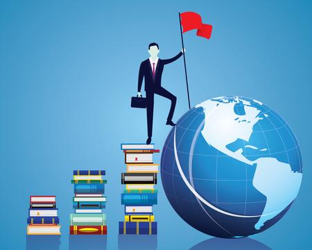 Il concetto di educazione aziendale della conoscenza, l'uomo d'affari conquista l'ostacolo, il gesto vincente tiene la bandiera della vittoria, calpesta il globo del mondo dalla scala dei libri Vettoriali