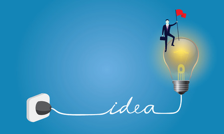 Business concept, businessman conquer obstacle, winning gesture holding victory flag on top of idea bulb lamp Illustration