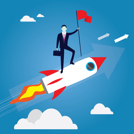 Business concept, businessman conquer obstacle, winning gesture holding victory flag, riding rocket startup concept Illustration
