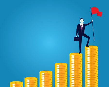Business concept, businessman conquer obstacle, winning gesture holding victory flag on top of stairs of money