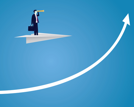 Vector illustration of businessman flying on paper plane while looking forward with telescope, future business vision concept