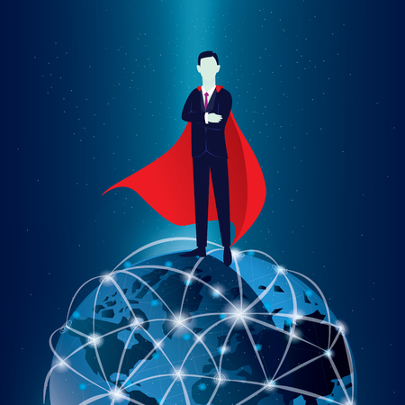 Vector illustration of super businessman on top of the world