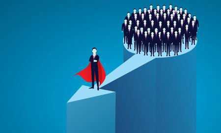 Súper empresario líder frente a su grupo. Ilustración de vector