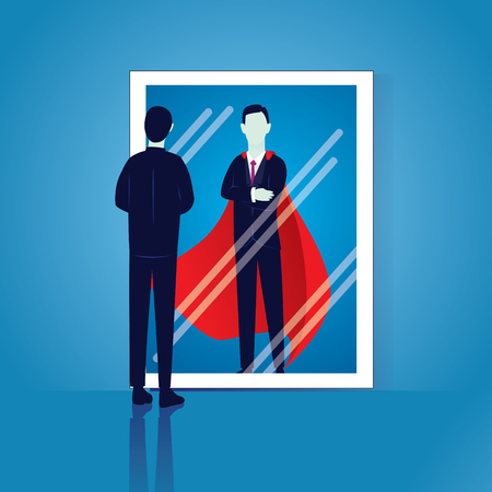 Vector illustration of businessman facing his inner super strength in the mirror. Self confidence.