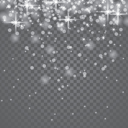 Vector illustration of white glitter particles bokeh effect. Sparkling texture. Falling transparent star dust sparks background for christmas holiday greeting card