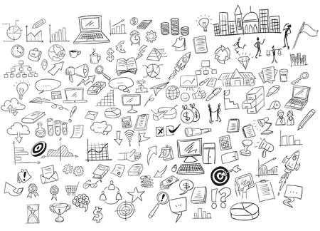 Vector illustration of business doodle set scribble collection outlined hand drawn icons