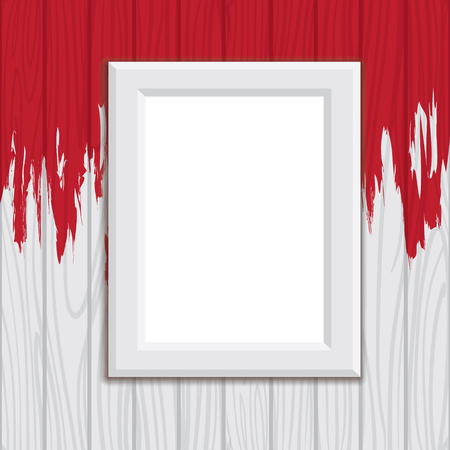 Illustration Of Wooden Frame On Wall, Dripping Red Paint Splash ...