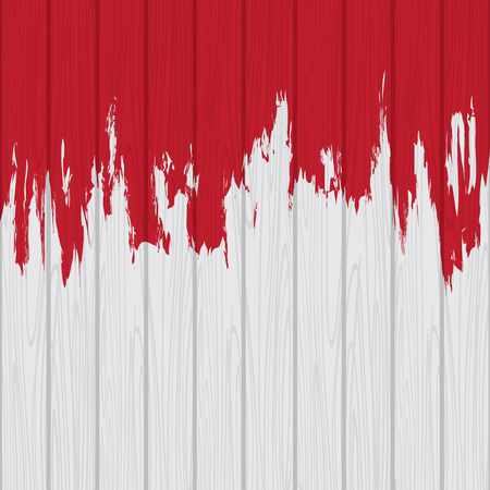 Illustration of dripping red paint splash on white wooden wall which can be a template backdrop design Illustration