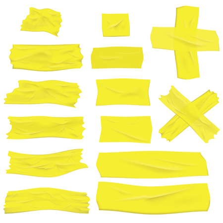 Illustration of realistic greenish yellow masking tape isolated on white