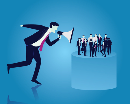 Vector illustration of big boss shouting to his workers with megaphone. Leadership leader giving order concept