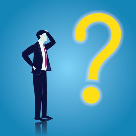 Vektorillustration des Geschäftsmannes und des Fragezeichens. Geschäftsproblemkonzept Vektorgrafik