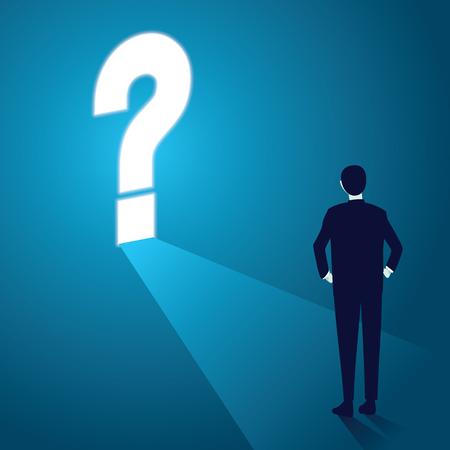 Illustrazione vettoriale di uomo d'affari e punto interrogativo. Concetto di problema aziendale