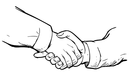 Vector illustration of handshake in simple black and white doodle. Agreement deal concept