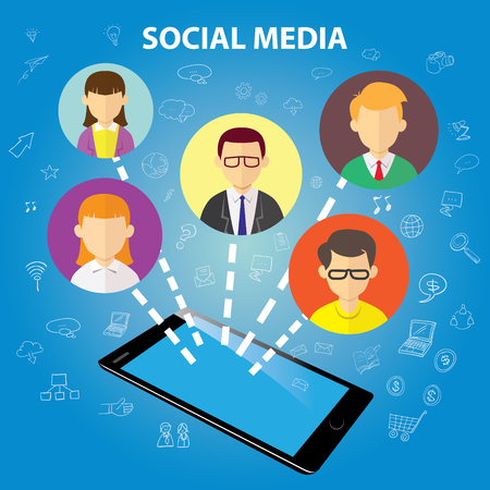Vector illustration of social media concept, people connection on online cloud communication, gadget and avatar symbol