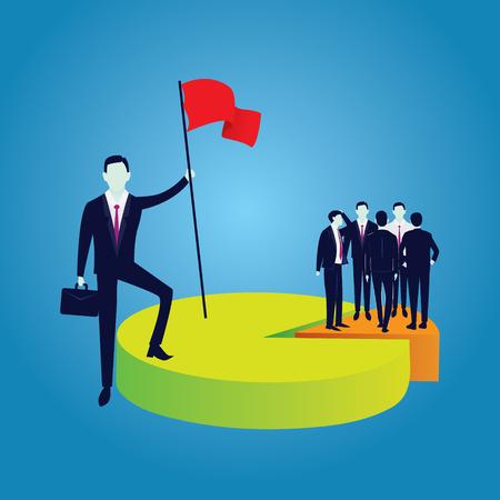 Illustration vectorielle de bussinesman réussi tenant le drapeau de la victoire, revendiquant la plus grande part de marché, domination sur les gens, concept de puissance Vecteurs