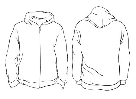 Illustrazione vettoriale. Giacca con cappuccio da uomo in bianco con cerniera, vista anteriore e posteriore. Disegno semplice di doodle di contorno. Isolato su bianco