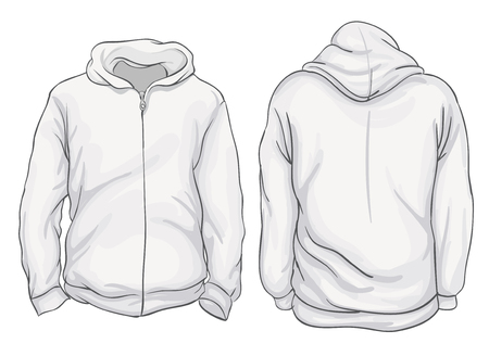 Vector illustration. Blank Mens hoodie jacket with zipper, front and back views. Isolated on white