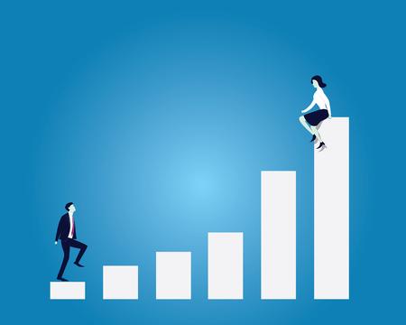 Vector illustration. Business love target concept. Businessman climbing ladder to reach woman