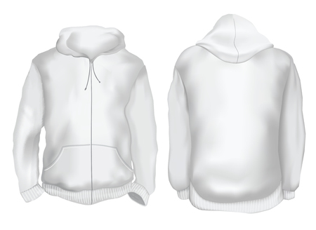 Vector illustration. Blank Men's hoodie jacket with zipper, front and back views. Gradient mesh image. Isolated on white
