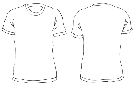 Vector illustration. Blank Mens t-shirt, front and back views. Simple outline shirt design. Isolated on white Ilustração
